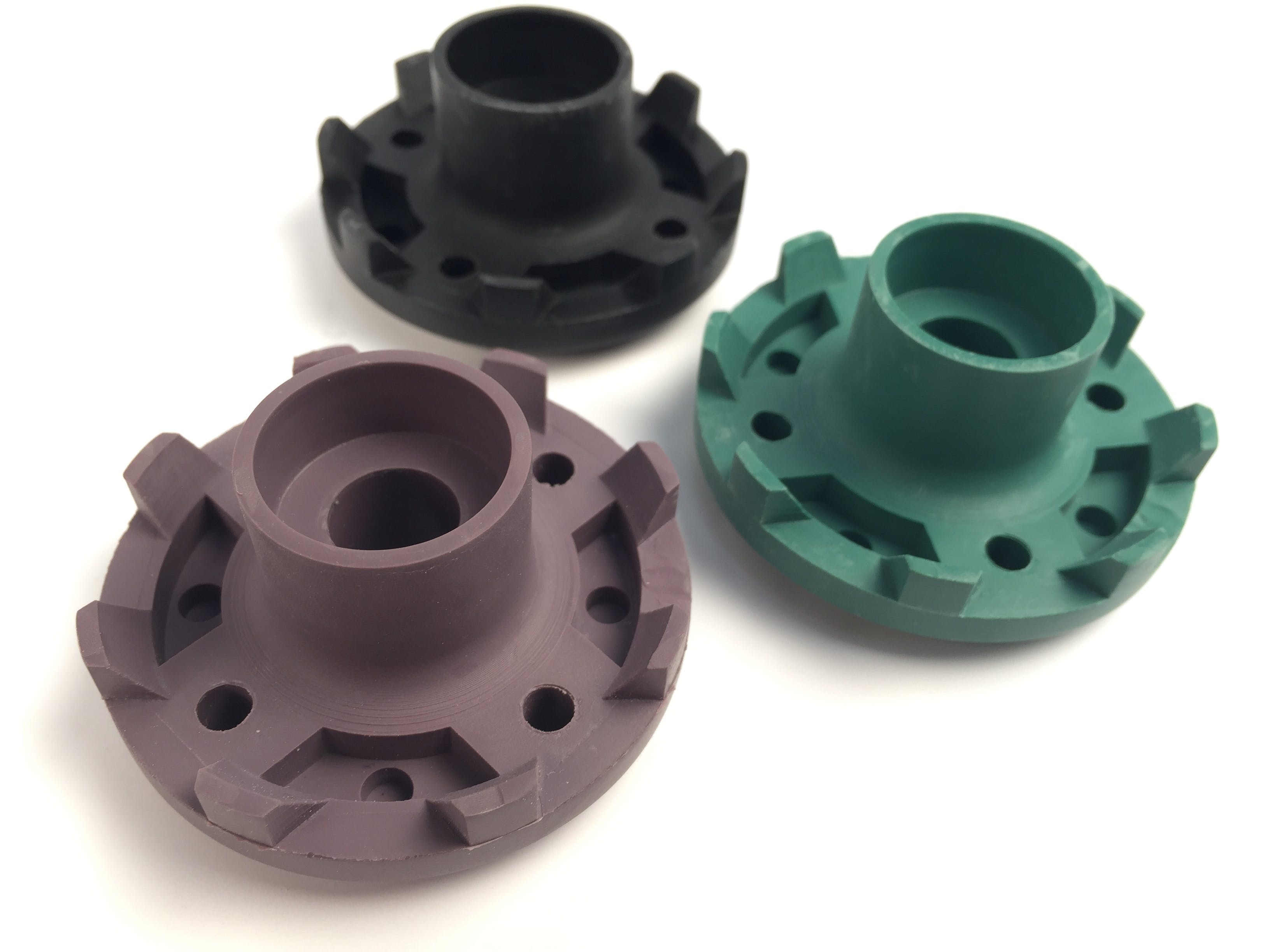 Urethane cast parts in different colors and durometers from very rigid to very soft