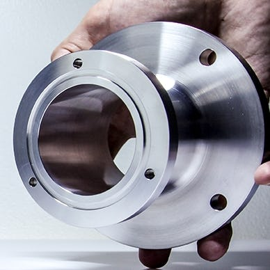 CNC part in man's hand