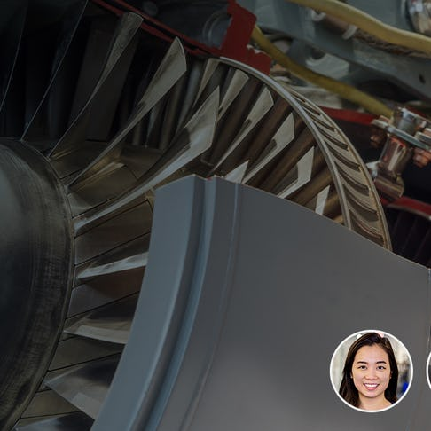 Airplane engine and faces of webinar participants