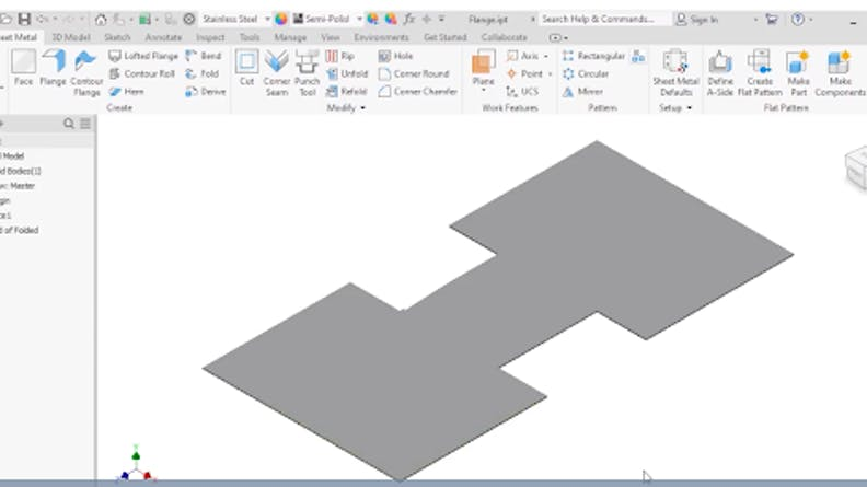 Sheet Metal Flange Feature in Autodesk Inventor