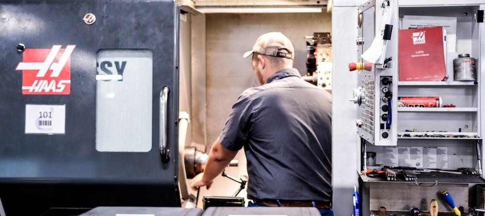 Machinist at CNC machine