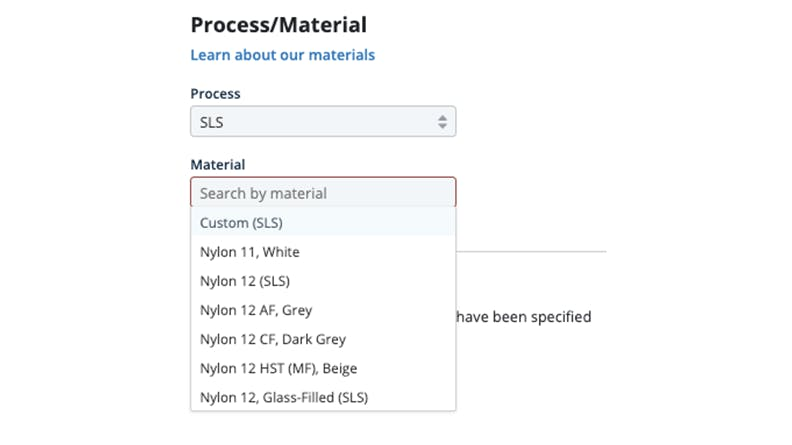 SLS Nylon New Materials in the Xometry Instant Quoting Engine℠