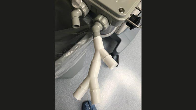 ventilator valve splitter prototype attached to a ventilator for testing