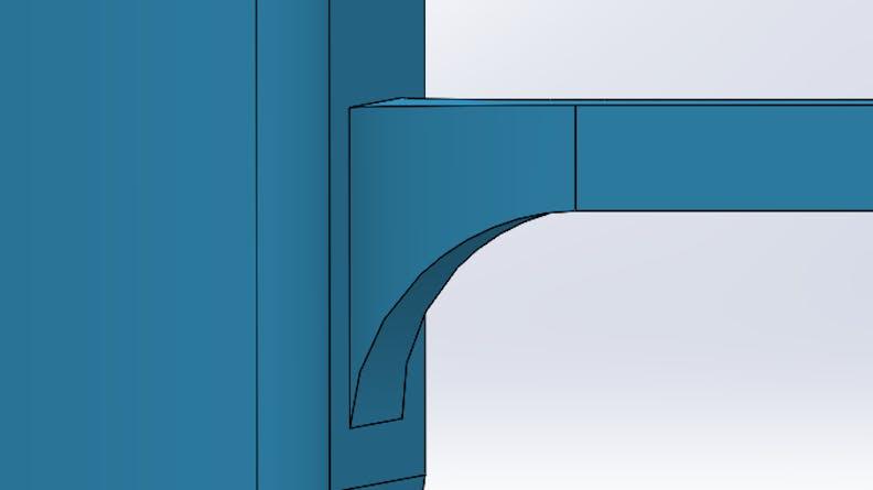 CAD showing addition of a fillet for a binder jet part