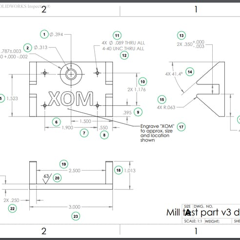 Xometry inspection report technical drawing