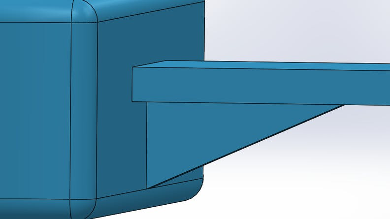 CAD showing addition of a rib for a binder jet part