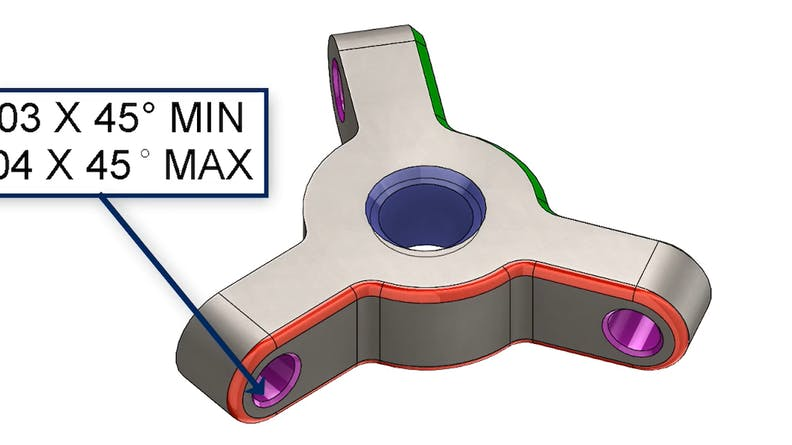 CAD design sample file, annotated