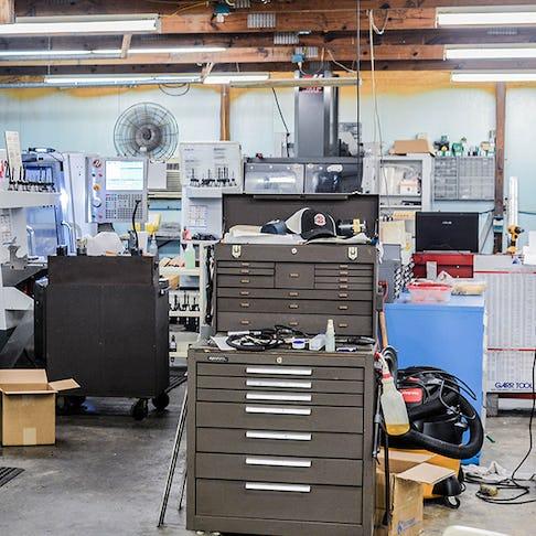 A CNC machine shop