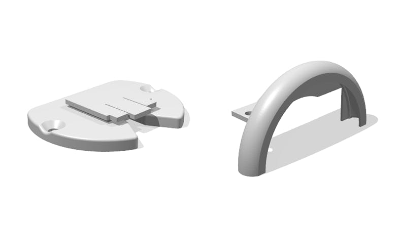 CAD models of SLS printed parts in the shade system