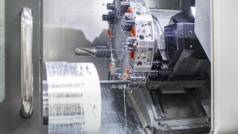 A live tooling lathe with a 4+ axis machine