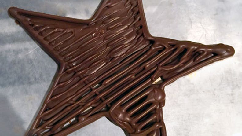 Chocolate prints with the first Cocoa Press prototype