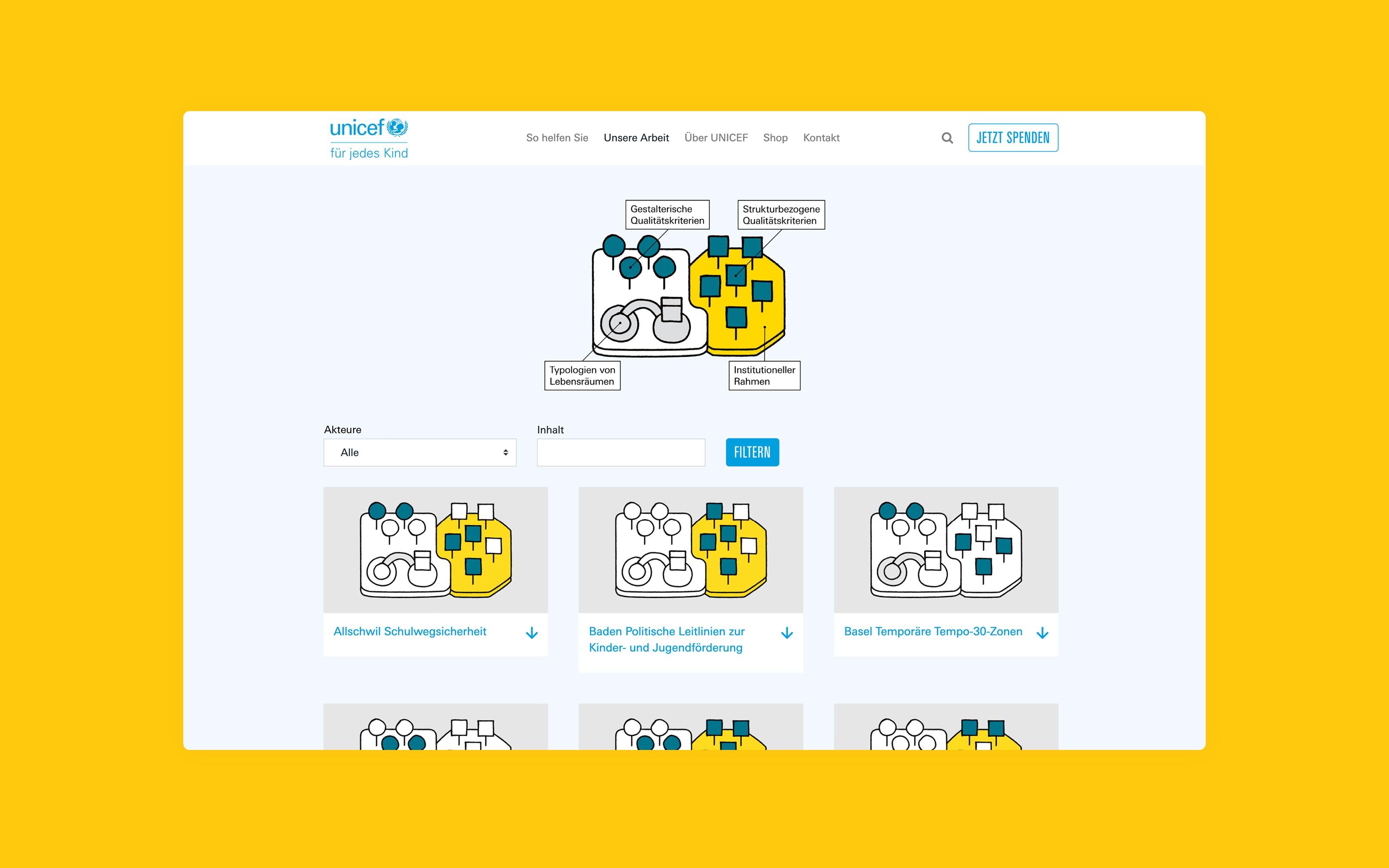website unicef kinderfreundliche lebensräume von superdot studio