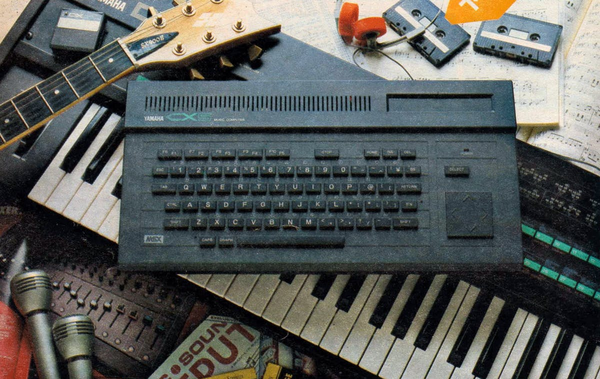 Yamaha CX5 advertisement, with a DX7