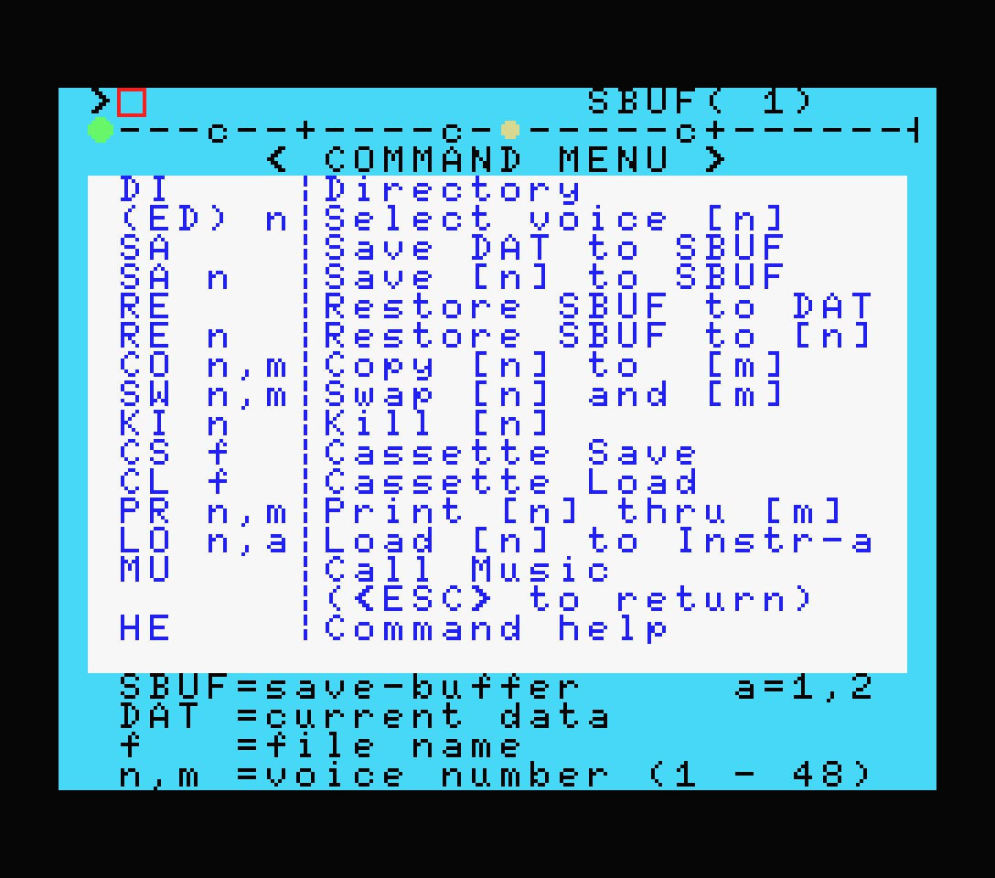 Yamaha YRM102 command menu