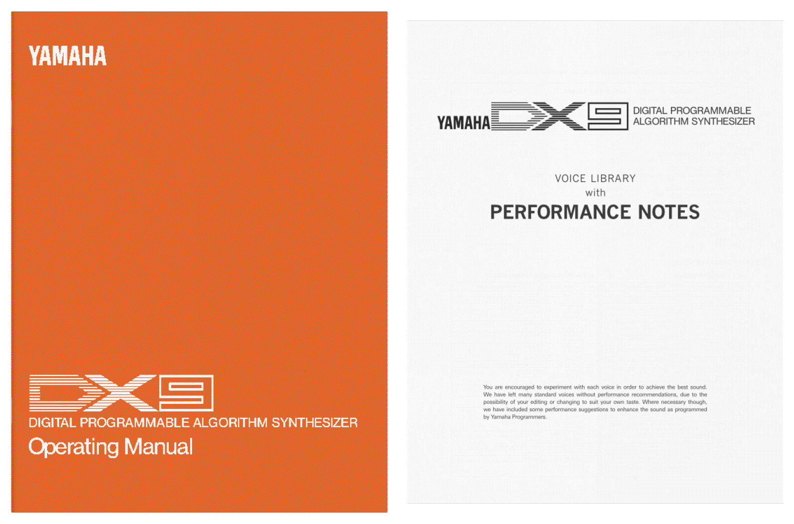 Yamaha DX9 operating manual performance notes buy print pdf