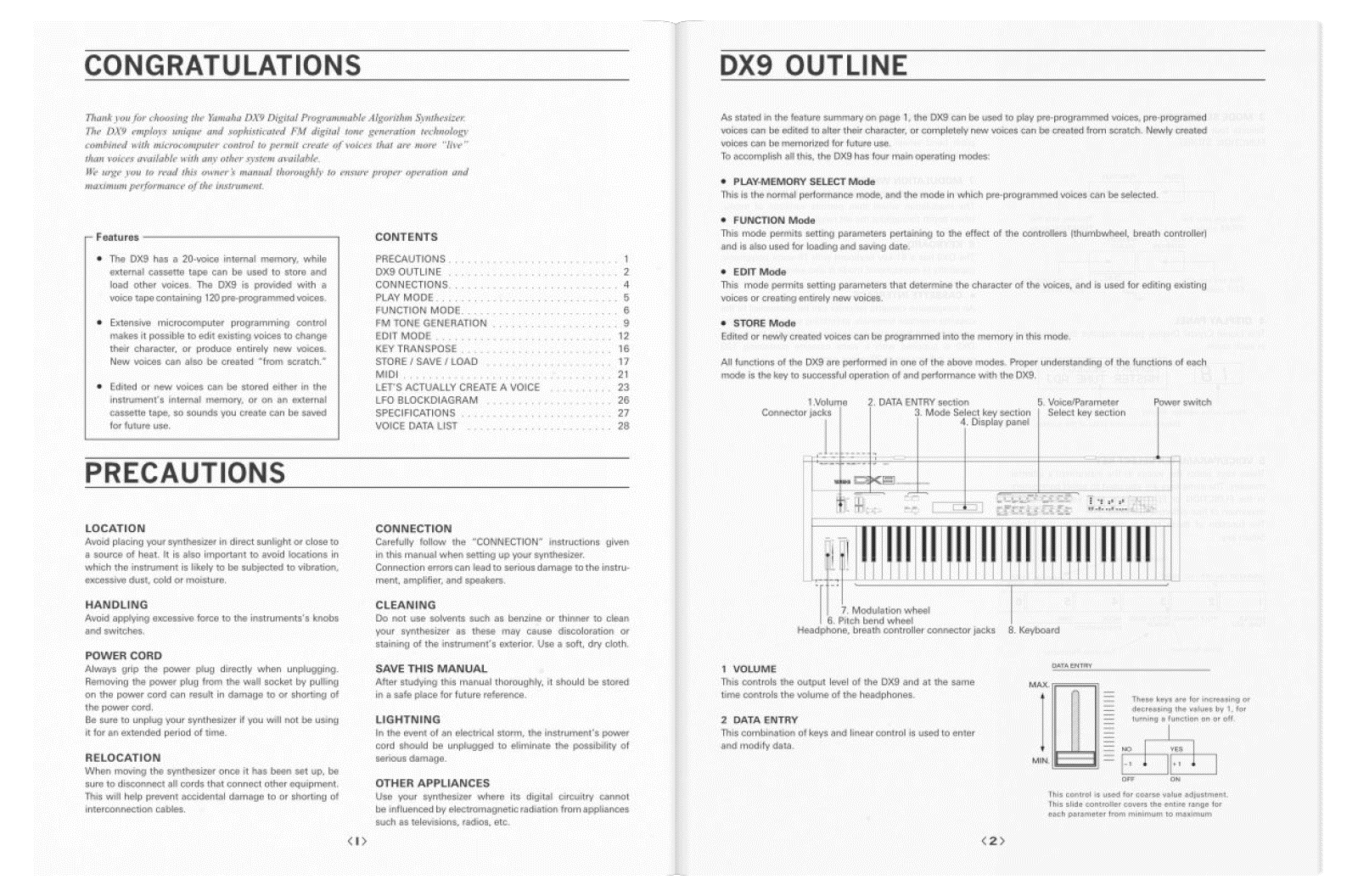 Yamaha DX9 how to manual pdf booklet