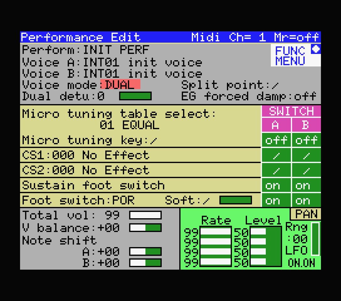 Yamaha YRM306 performance editor