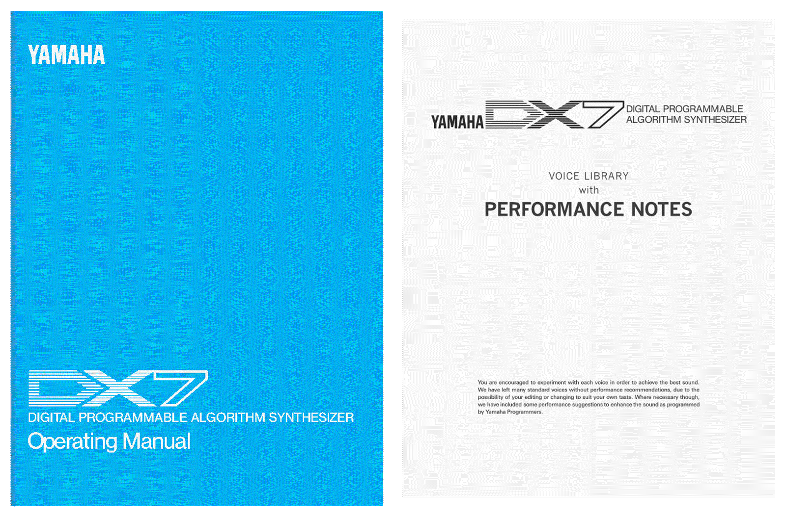 Yamaha DX7 operating manual performance notes buy print pdf