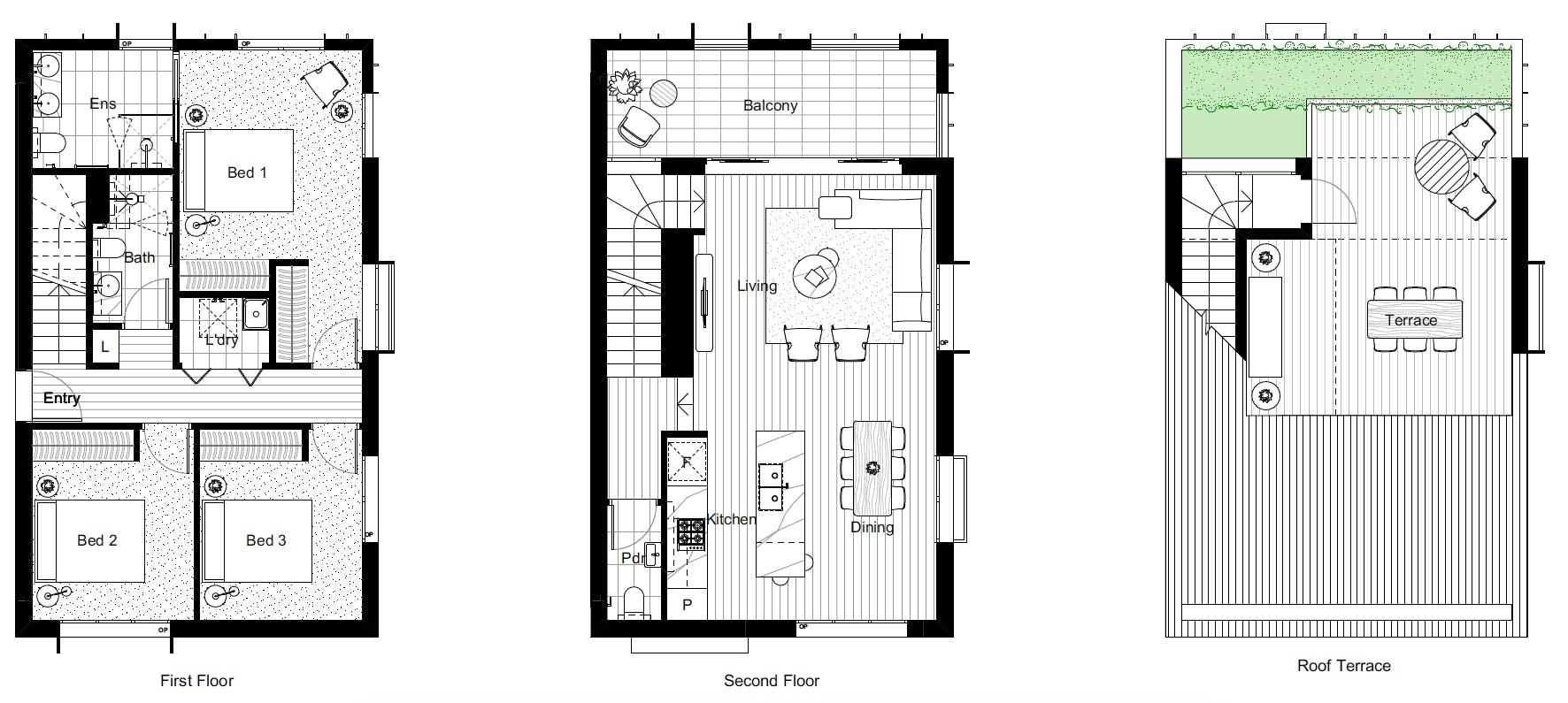 3 Bedroom, 3 Bathroom, Rooftop Terrace