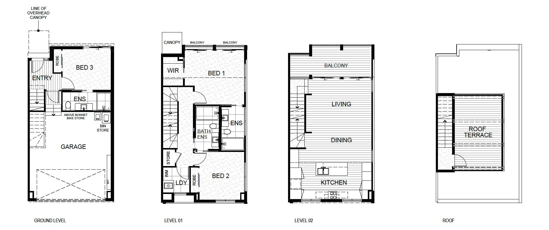 3 Bedroom, 3 Bathroom, 2 Carpark, Rooftop Terrace