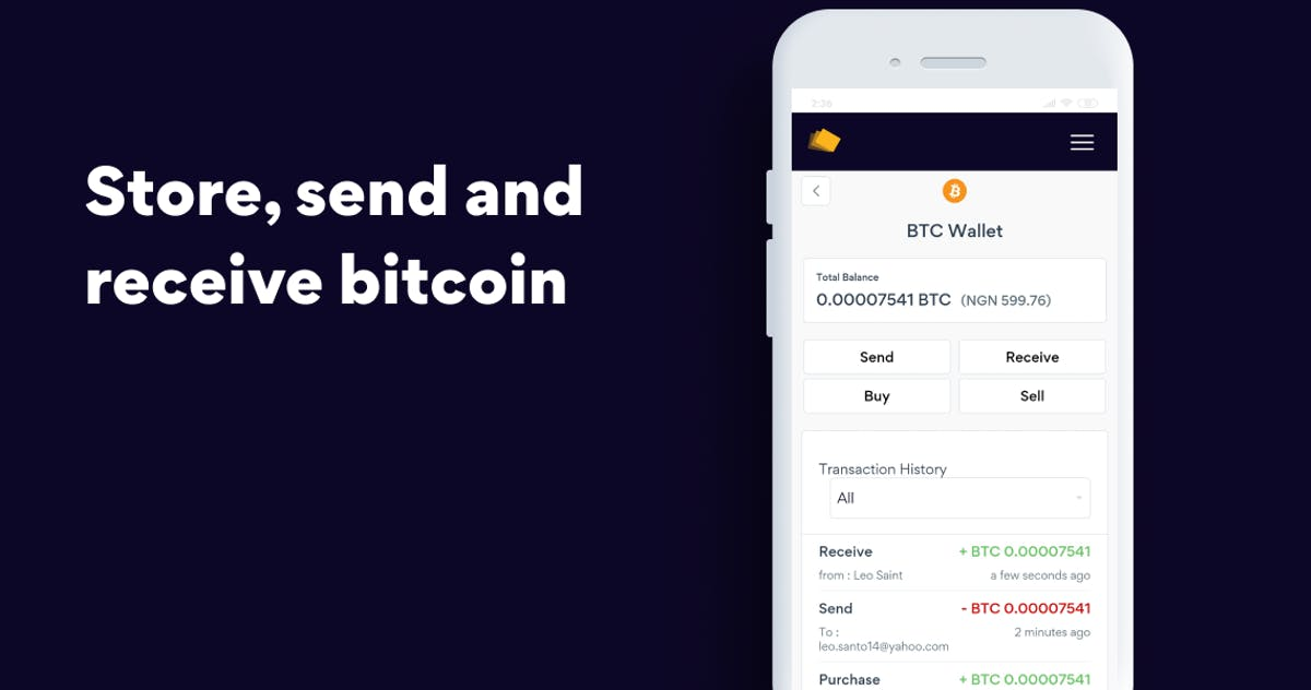 store, send and receive bitcoin with Yellow Card wallet