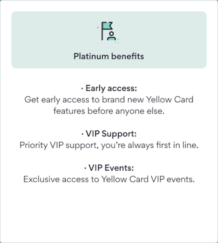 Platinum VIP benefits Yellow Card Financial
