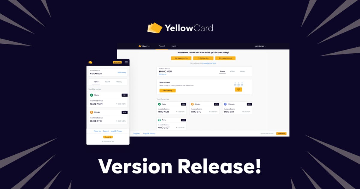 New Yellow Card interface