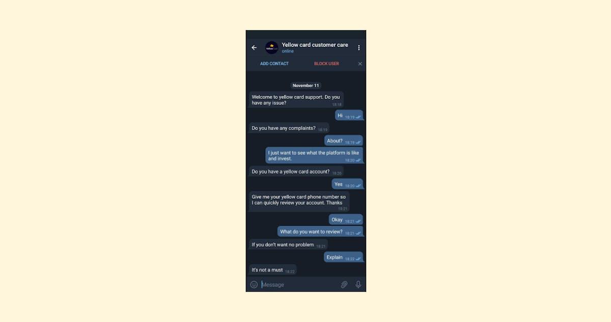 Fake support on Telegram