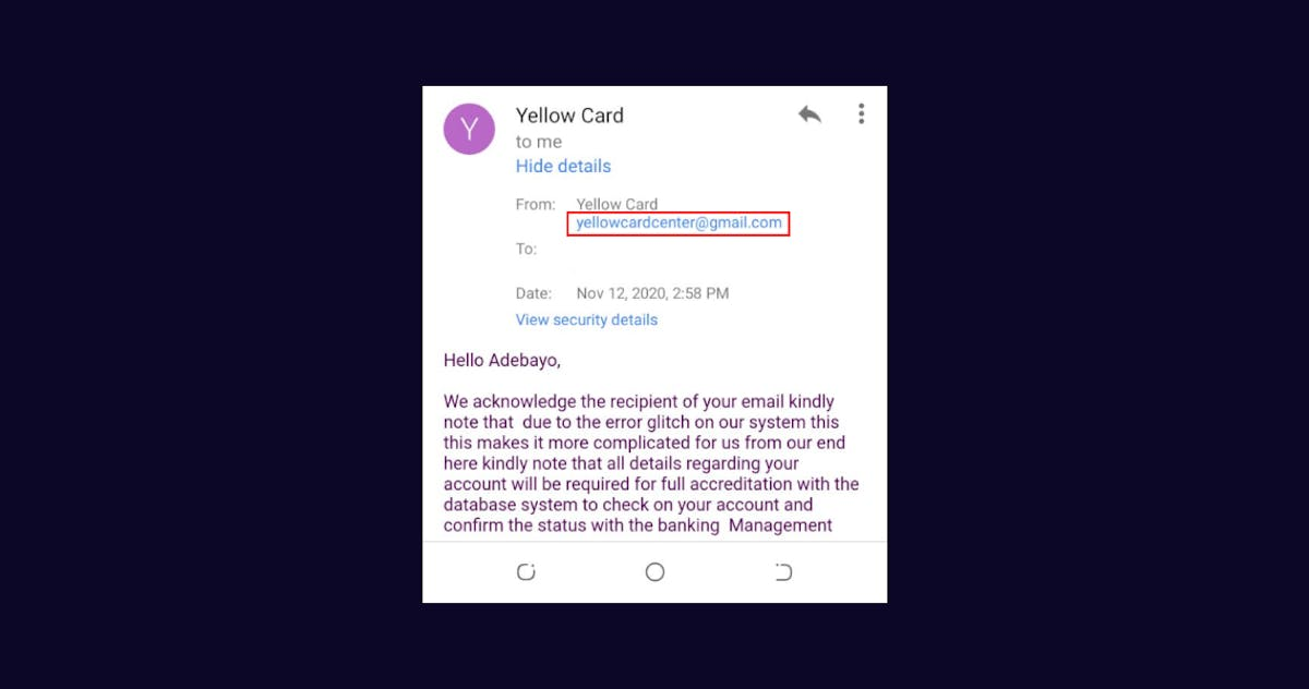 phishing email example yellow card financial