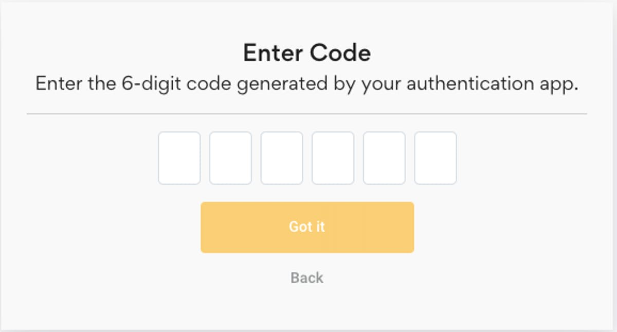 confirm 2fa code and activate