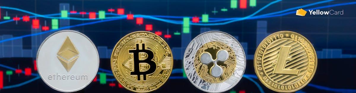 ethereum,  bitcoin, ripple and litecoin logos.