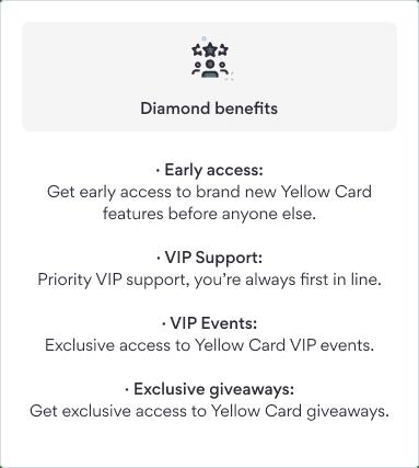 Diamond VIP benefits Yellow Card Financial
