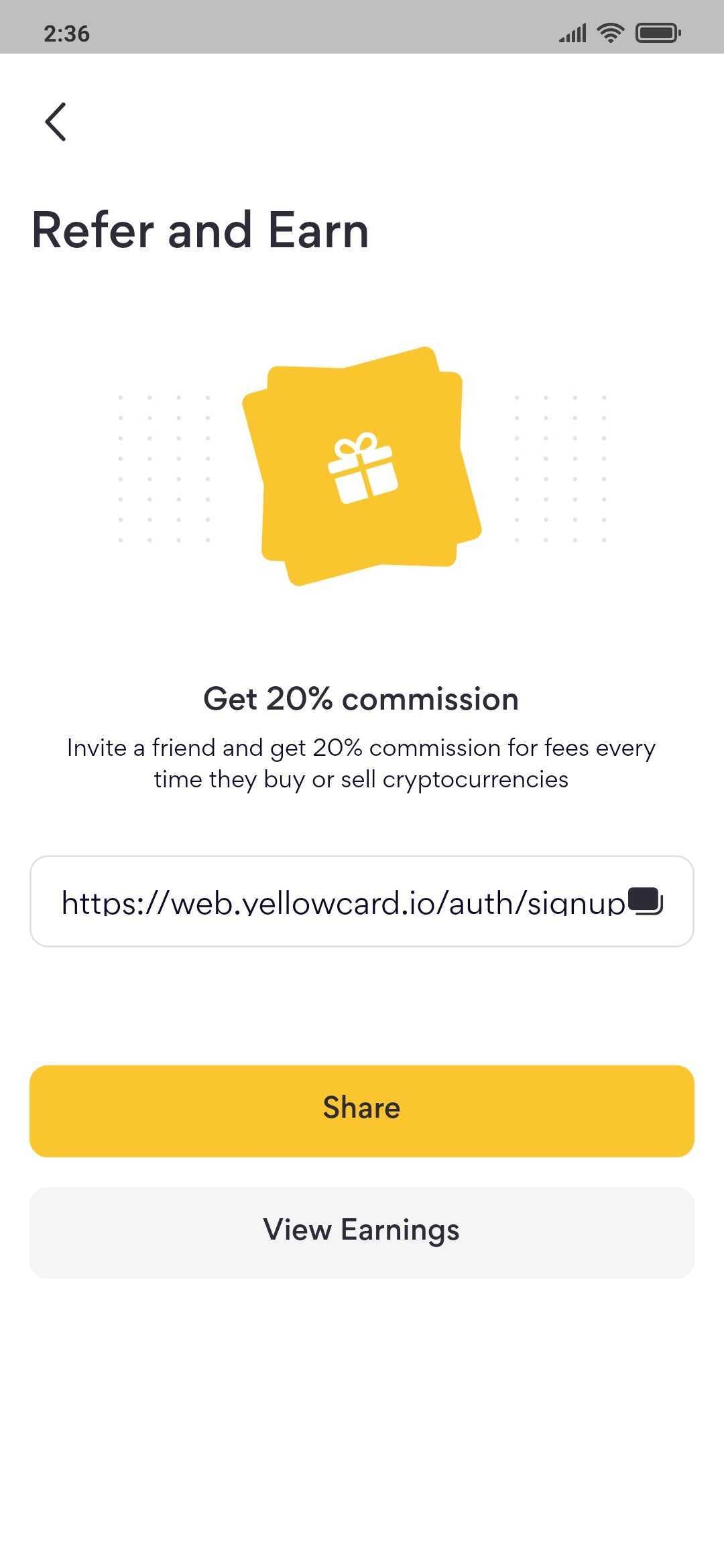 Yellow Card referral page mobile app