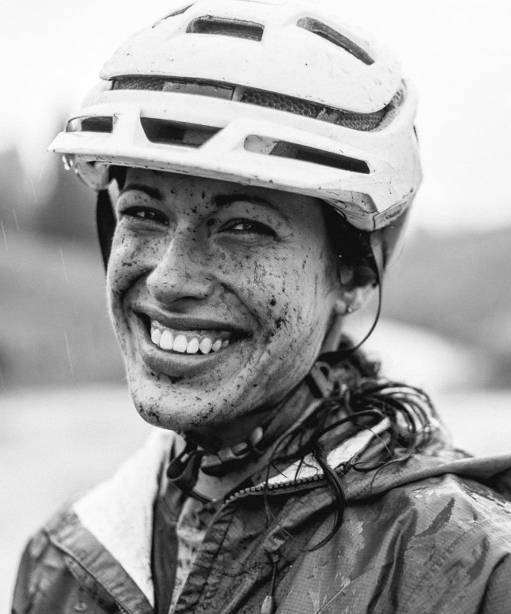 Nichole Baker with a happy mud-splattered face.