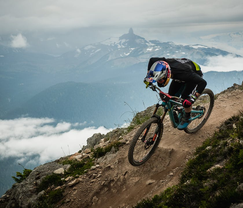 Richie Rude racing the Top of the World stage at EWS whistler
