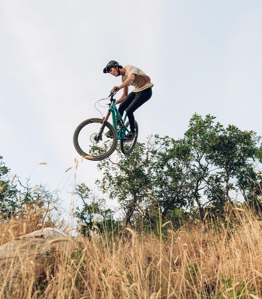 Easton Llewelyn getting sideways on a gap jump
