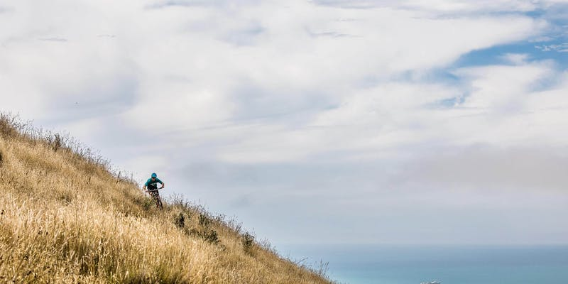 A biker on a hillside near the ocean