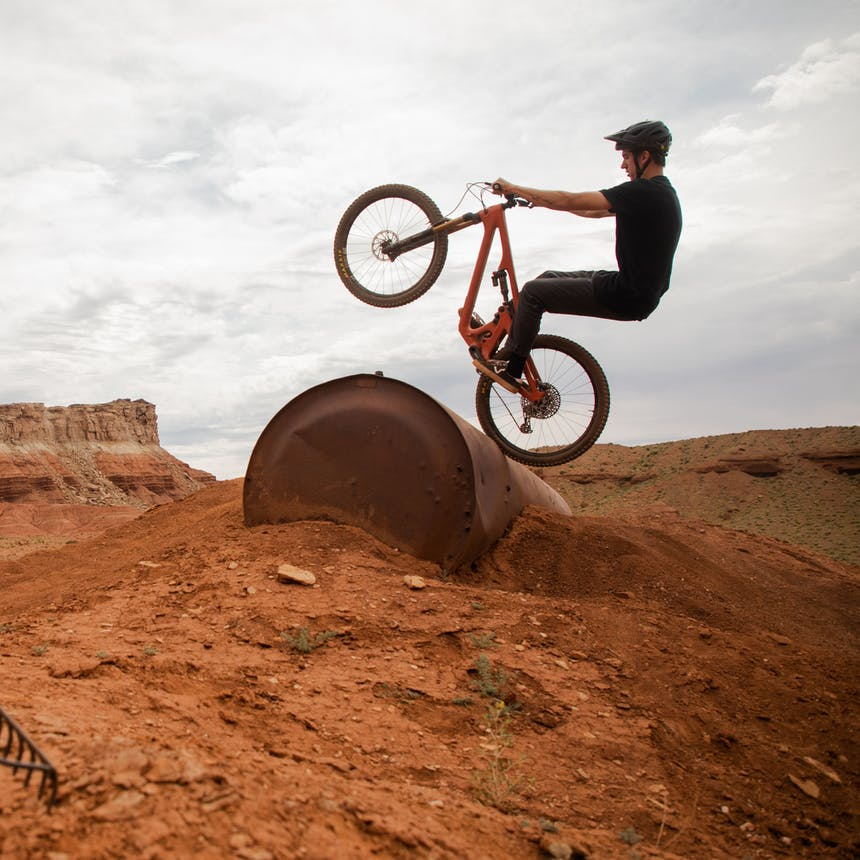 Bryn Bingham getting creative with a barrel in Green River, UT