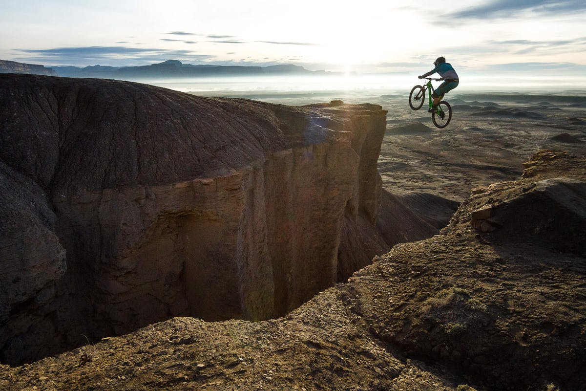 Shawn Neer hitting a massive gap jump in Green River, Utah