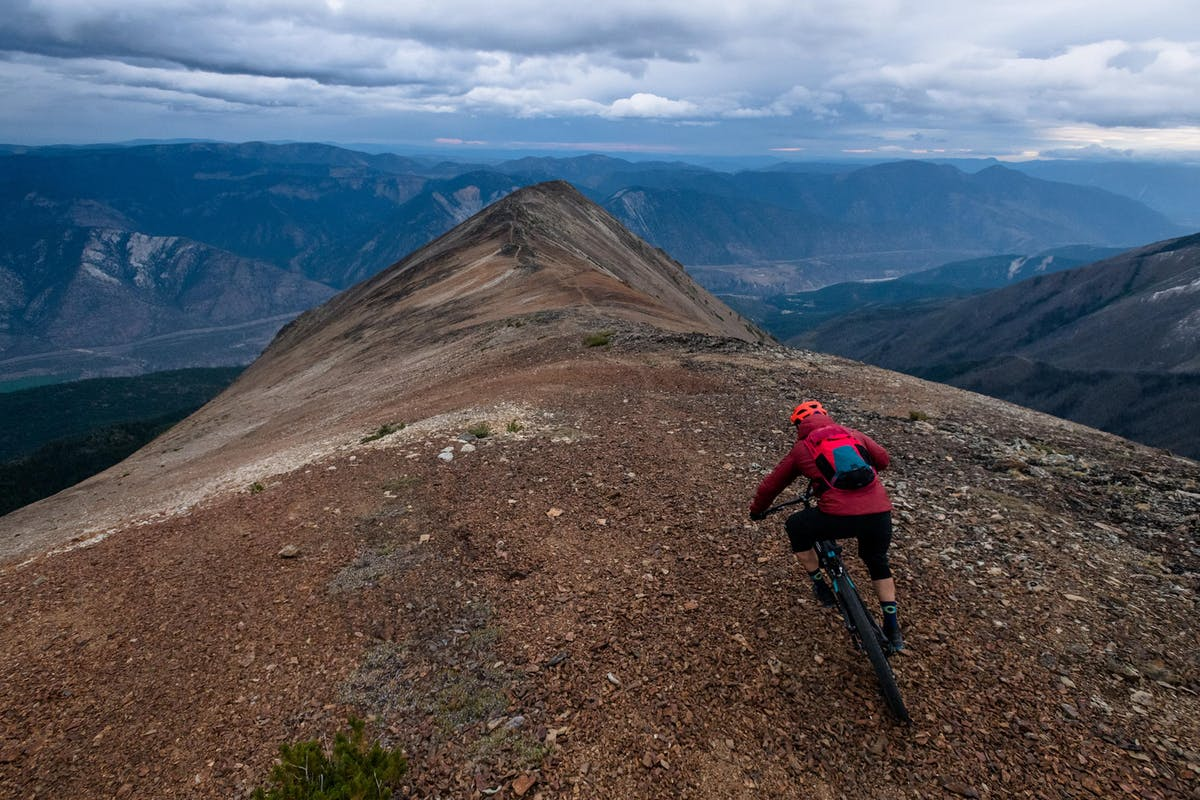 Marty Lazarski riding a ridgeline