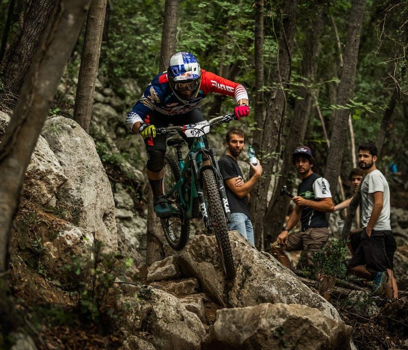 Richie Rude racing over rocks