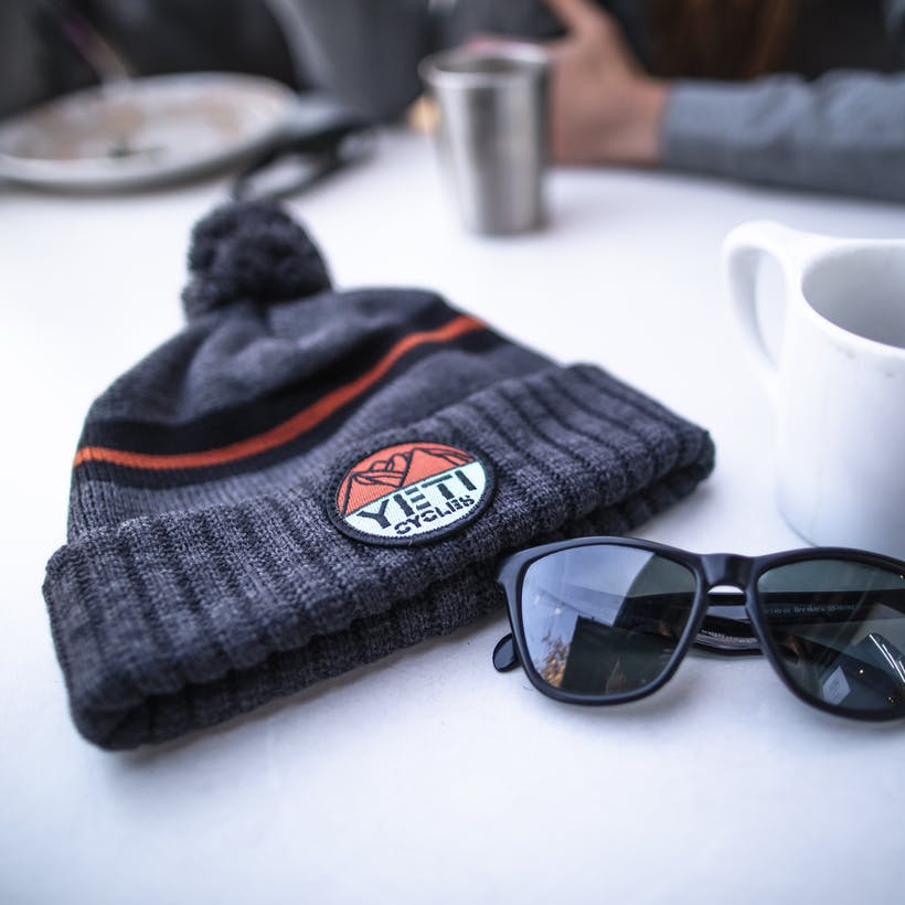 Yeti Mtn Patch Beanie on table