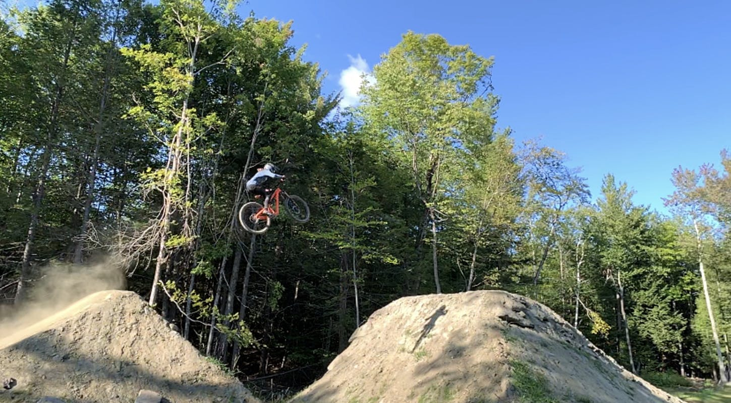 Laura Slavin on a large dirt to dirt jump