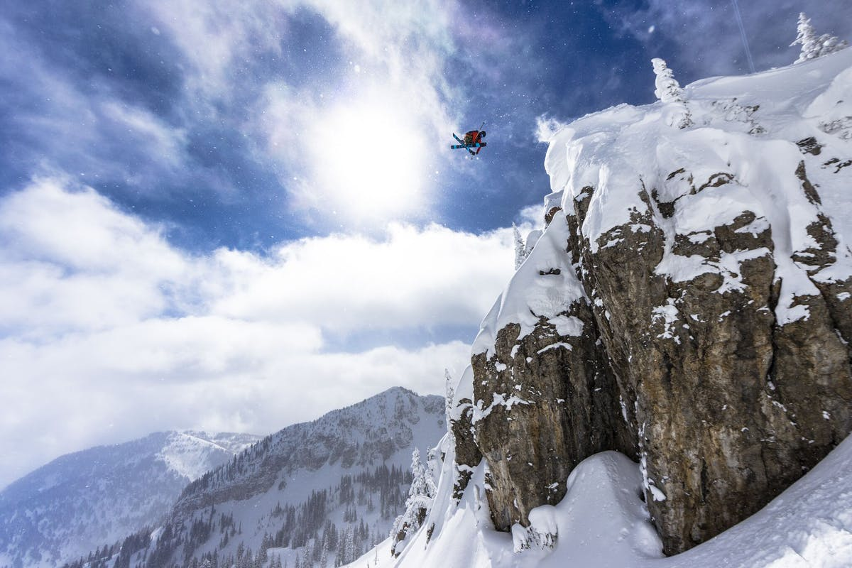 Carston Oliver hitting a massive cliff on skis