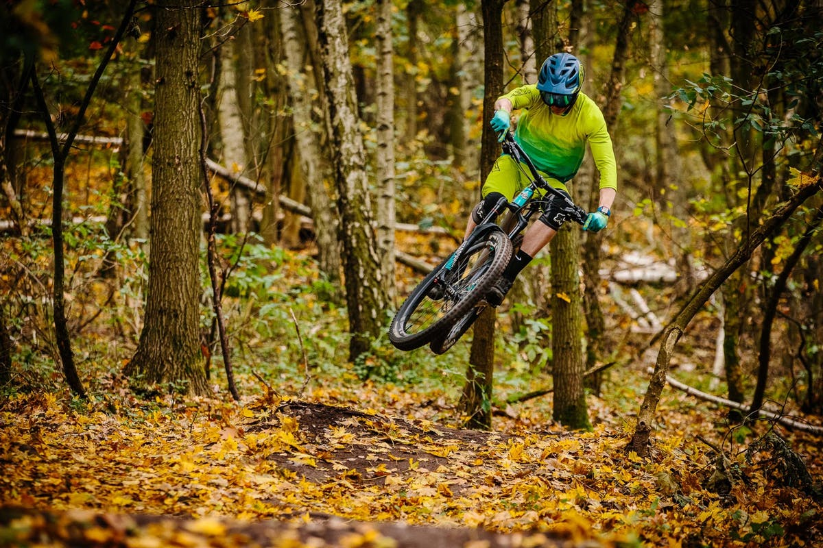 Lee Trumpore hitting a jump in prime fall season conditions