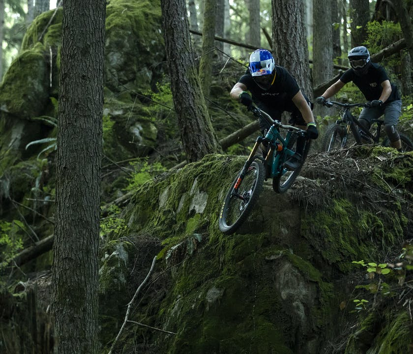 Richie Rude hitting a drop on the SB165 with Stu Dickson close behind.