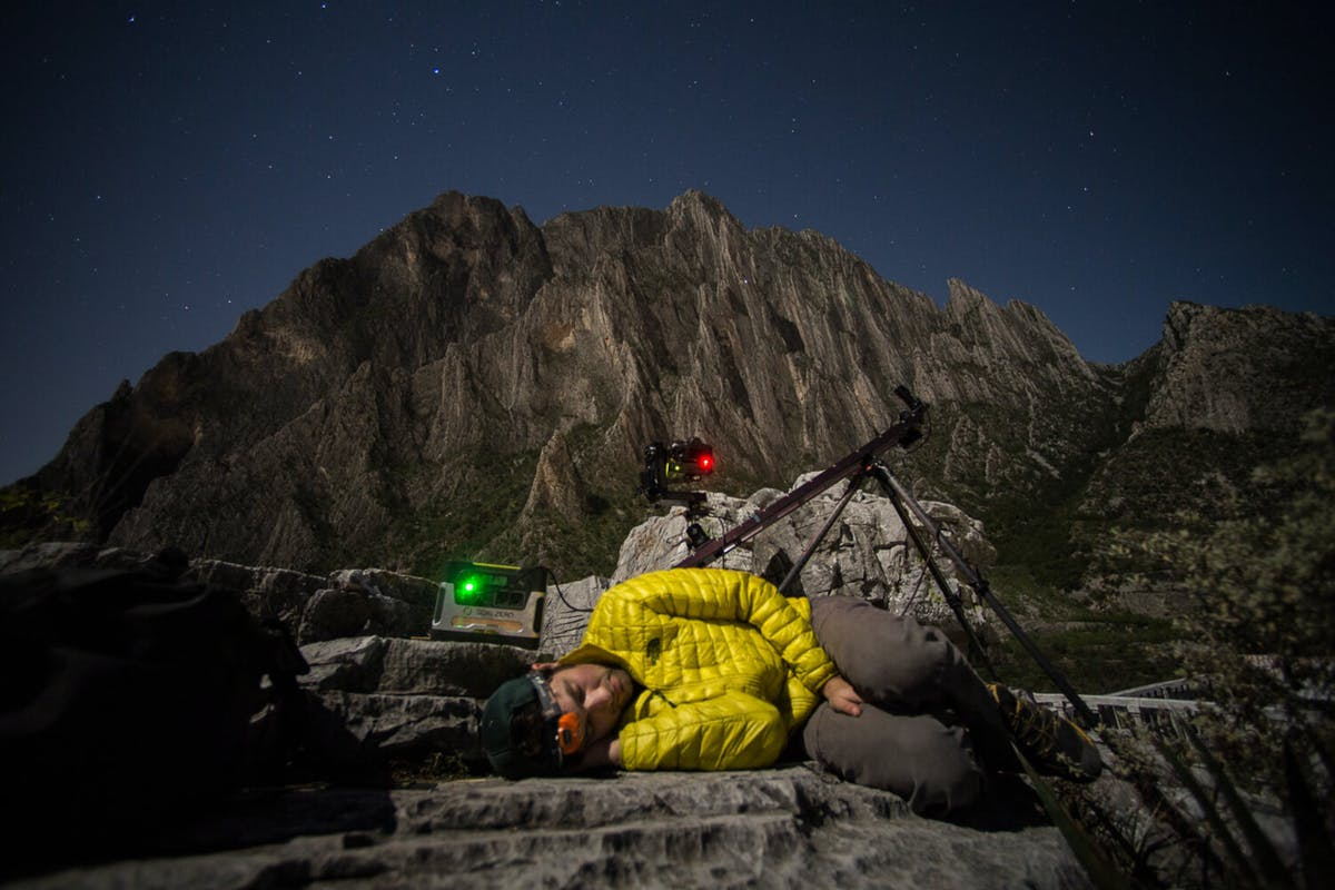 Renan Ozturk sleeping while taking a time lapse