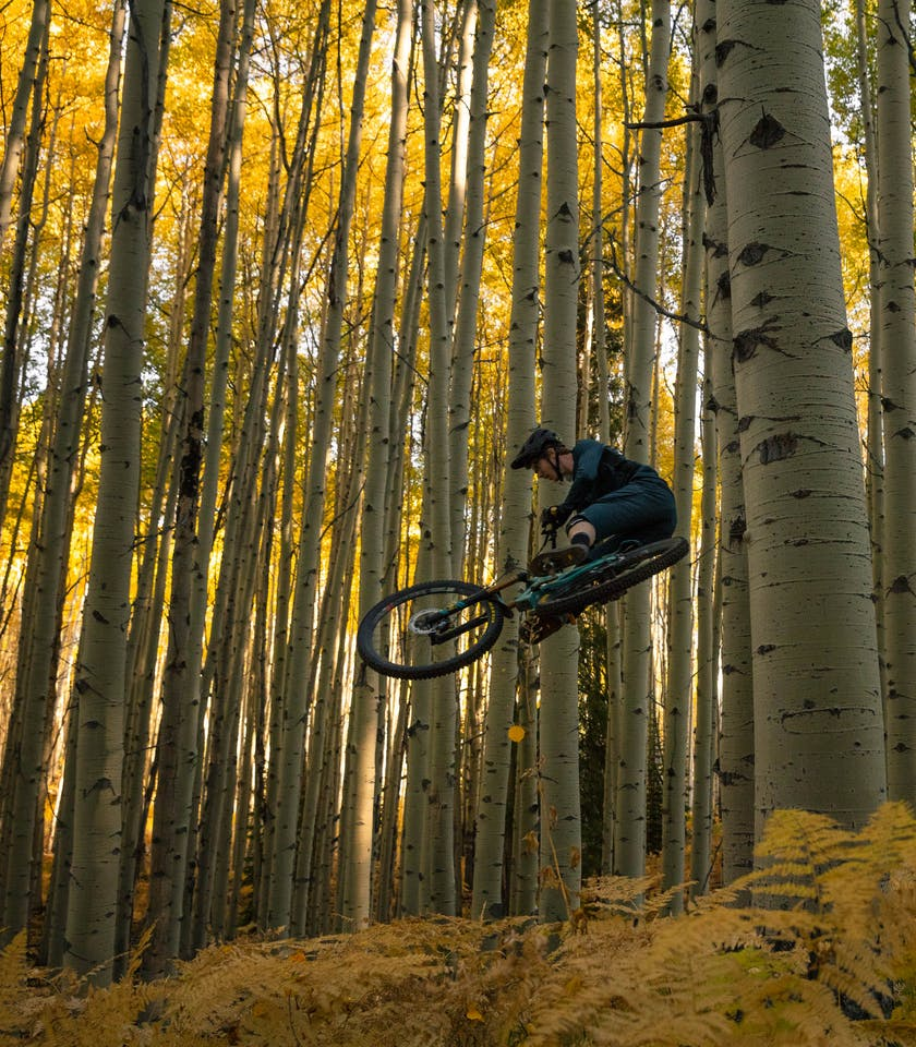 Jubal Davis jumping surrounded by aspen trees