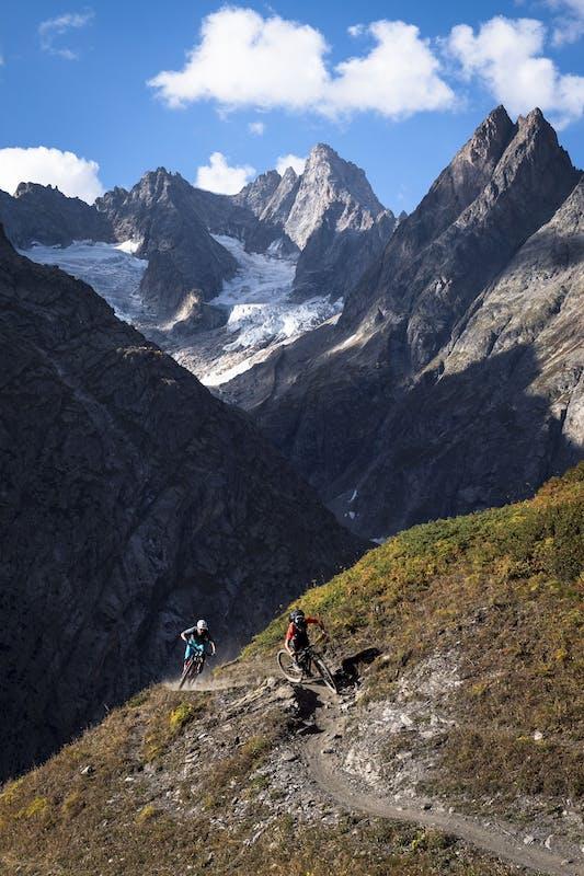 Francesco Gozio and Nate Hills riding single track near Mt. Blanc