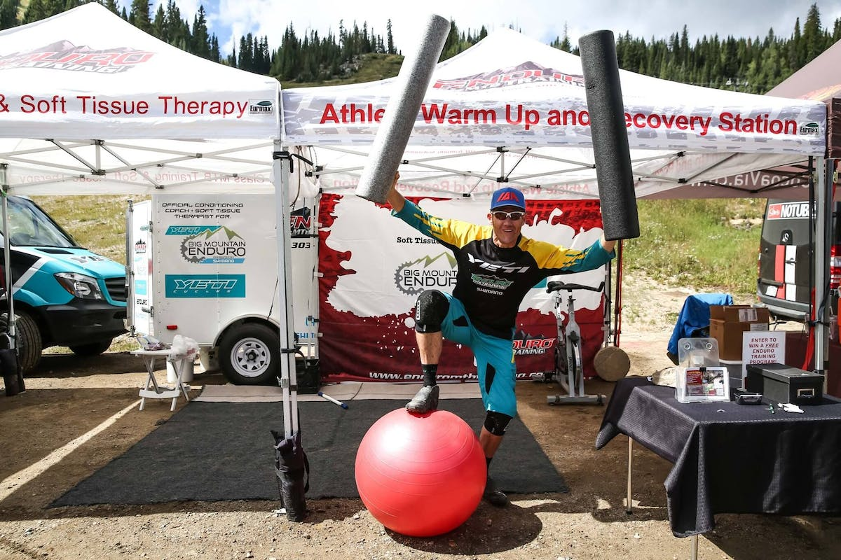 Dee Tidwell showing his energy under his Enduro MTB Training tent